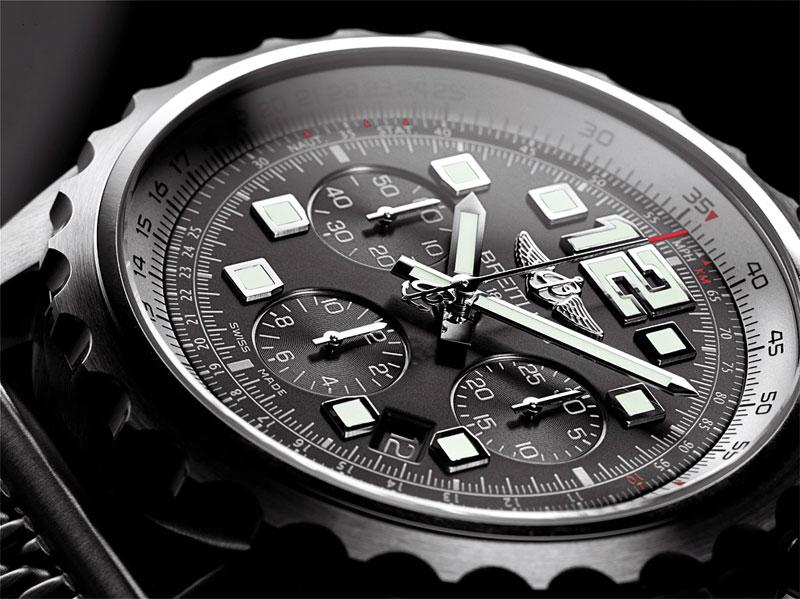 Breitling Chronospace Automatic Black Dial Navitimer Bracelet--