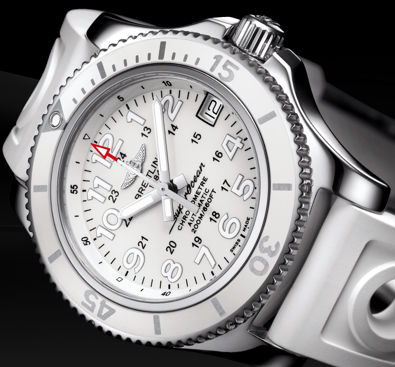 Elegant Breitling Superocean II 36 Fake Watches With White Rubber Straps