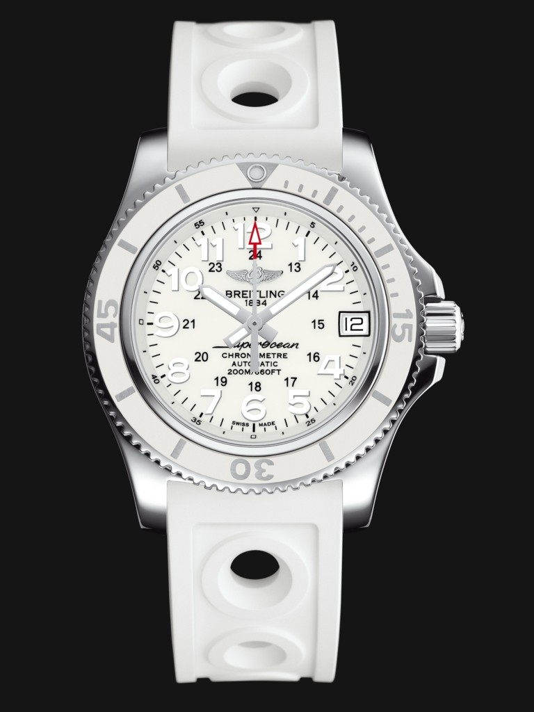 Elegant Breitling Superocean II 36 Replica Watches With White Rubber Straps