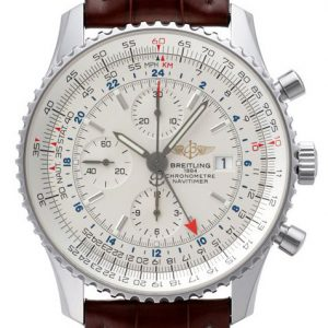 This white dial replica Breitling watch with vintage design style features several complicated functions, presenting us an abundant dial design.