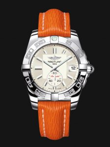 For the bright orange strap, this replica Breiting watch looks more eye-catching.