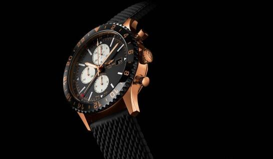 For the combination of red gold ad black, this fake Breitling watch shows a wonderful visual effect.