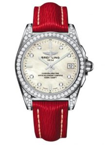 The stainless steel fake Breitling Galactic A7433063 watches are decorated with diamonds.