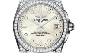 The 36 mm replica Breitling Galactic A7433063 watches have white dials.
