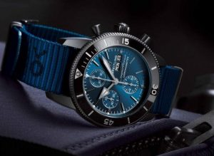 The special fake Breitling Superocean Heritage II Chronograph 44 Outerknown M133132A1C1W1 watches have blue ECONYL® straps.