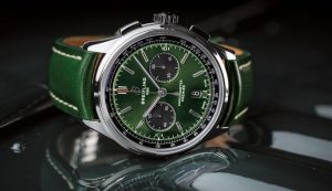 The green dials replica watches have green leather straps.