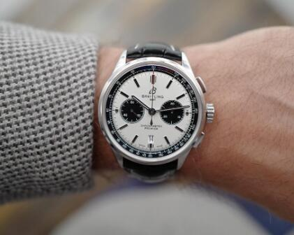 The black sub-dials are striking on the white dial.