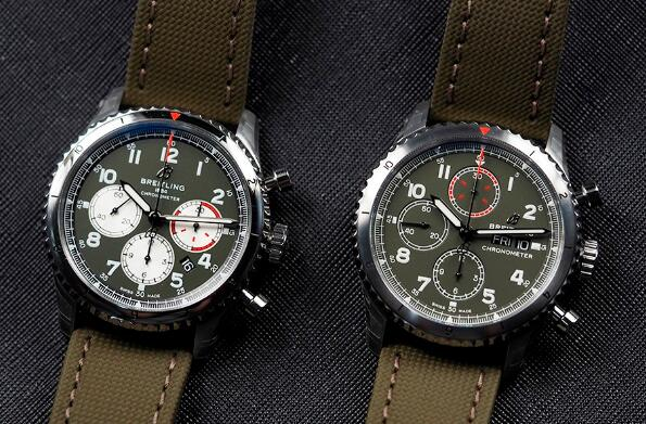 The military green Breitling watches look very impressive and eye-catching.
