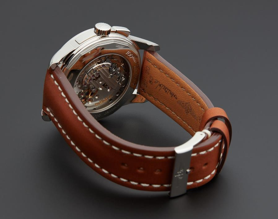 The brown strap fake watch is designed for men.